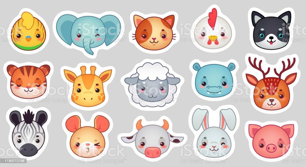 Cute animal stickers. Smiling adorable animals faces, kawaii sheep...