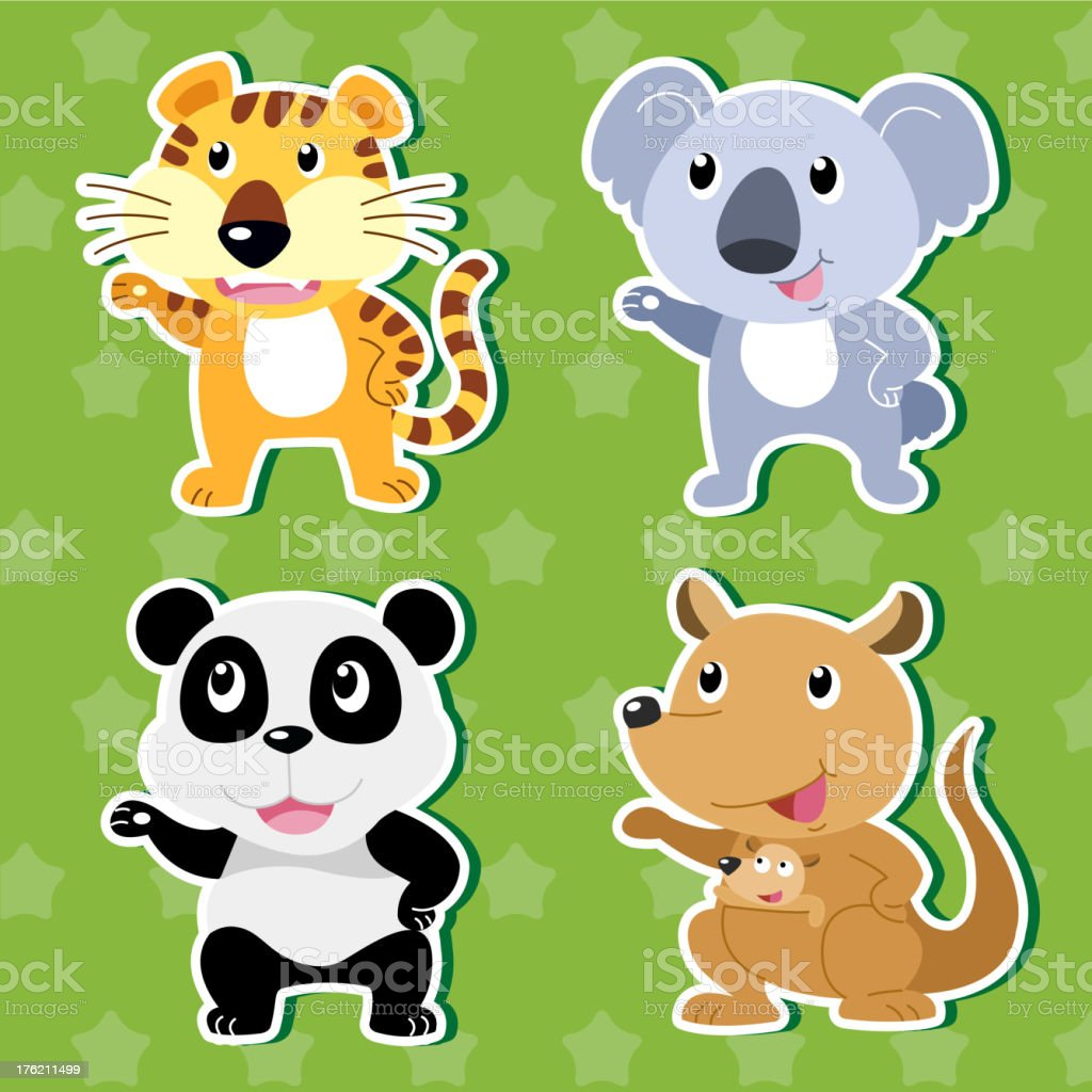 Cute animal stickers royalty-free cute animal stickers stock vector art & more images of animal