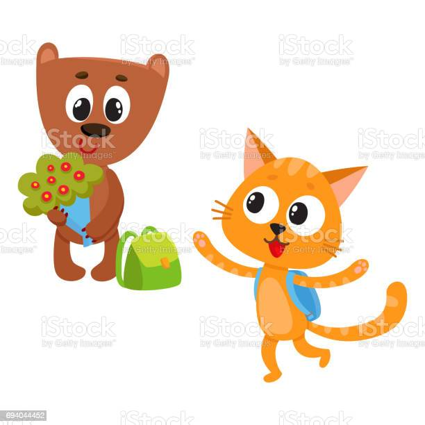 Cute animal student characters bear holding flowers cat with backpack vector id694044452?b=1&k=6&m=694044452&s=612x612&h=jptmgw 4h df hhzo6nlwoft1you6c3i lzy94m8maa=