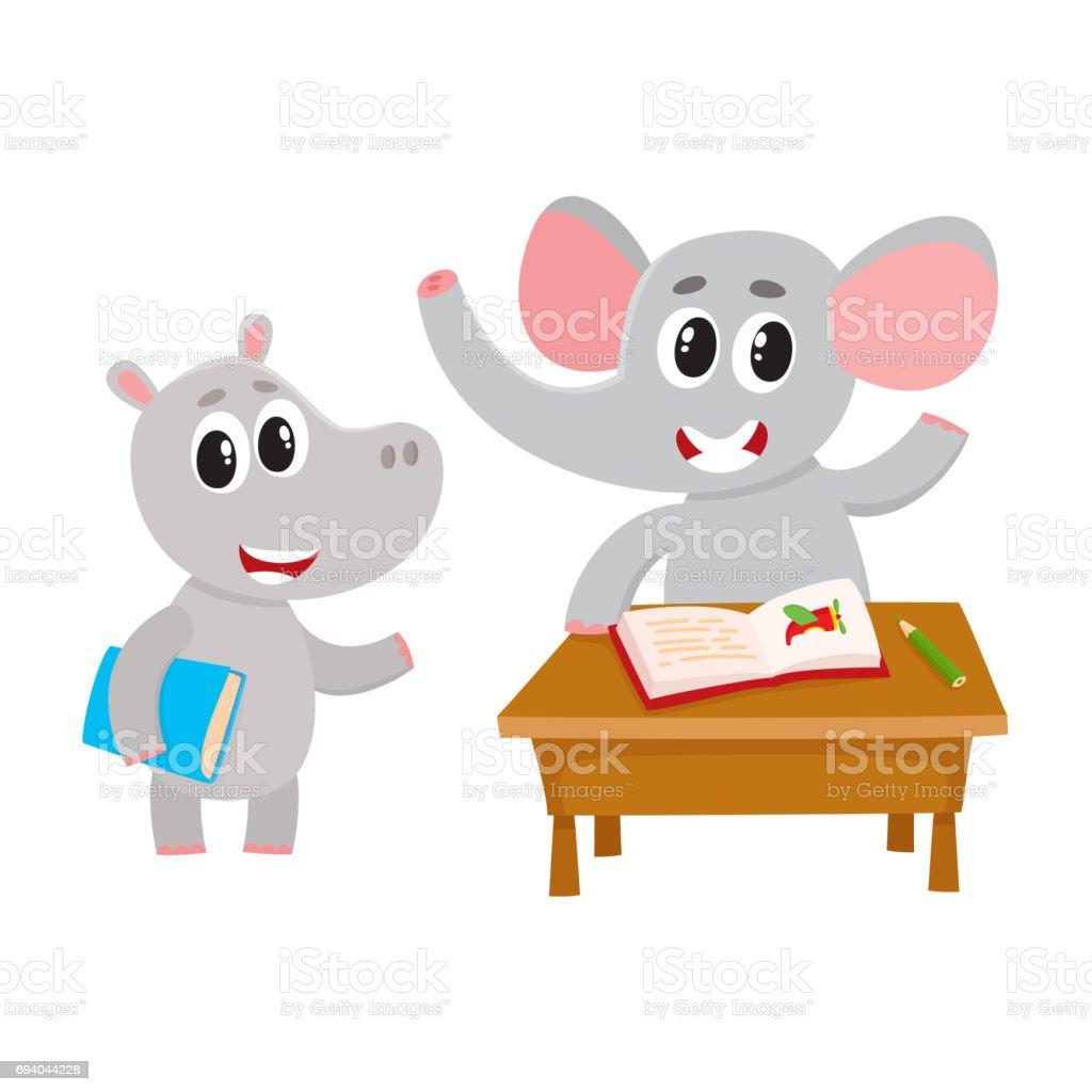 かわいい動物学生文字デスク本を保持しているカバのぞうさん - いっぱい