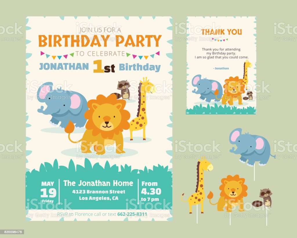 可愛的動物主題生日聚會請柬和謝謝你卡圖範本向量藝術插圖