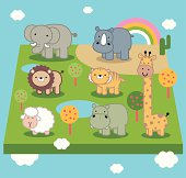Vector illustration - Cute Animal World.