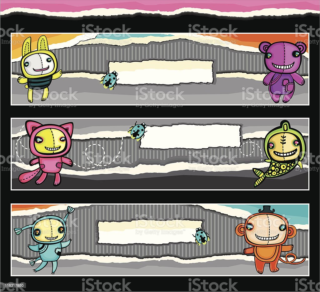Cute animalistic banners royalty-free stock vector art