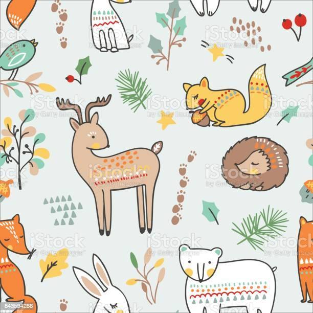 Cute animalistic seamless pattern vector illustration with fox bear vector id843594266?b=1&k=6&m=843594266&s=612x612&h=nyfxkajzkmiaubvgabonpxvm4jurgw9c9totqno51l4=