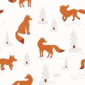 Cute animalistic seamless pattern. Vector illustration. with fox in a winter forest.