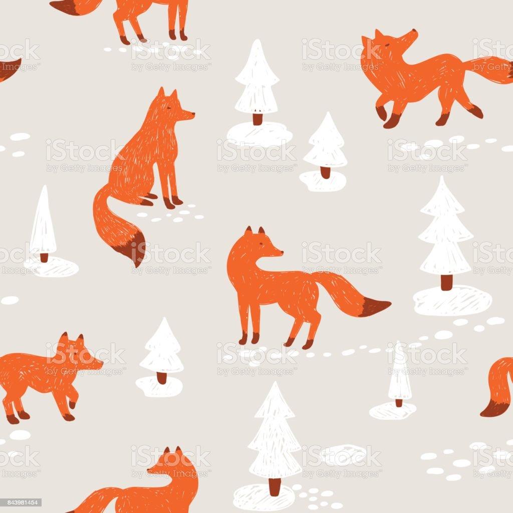 かわいい動物のようなシームレスなパターンベクトルの図冬の森で