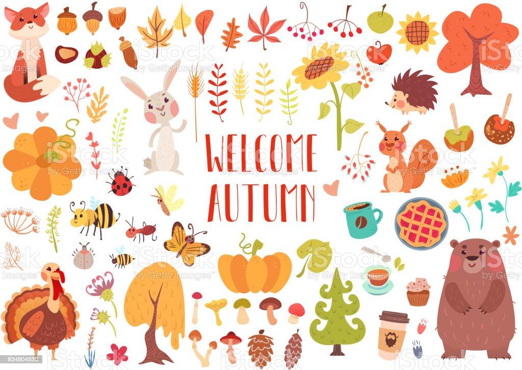 Cute animals and plants set vector art illustration