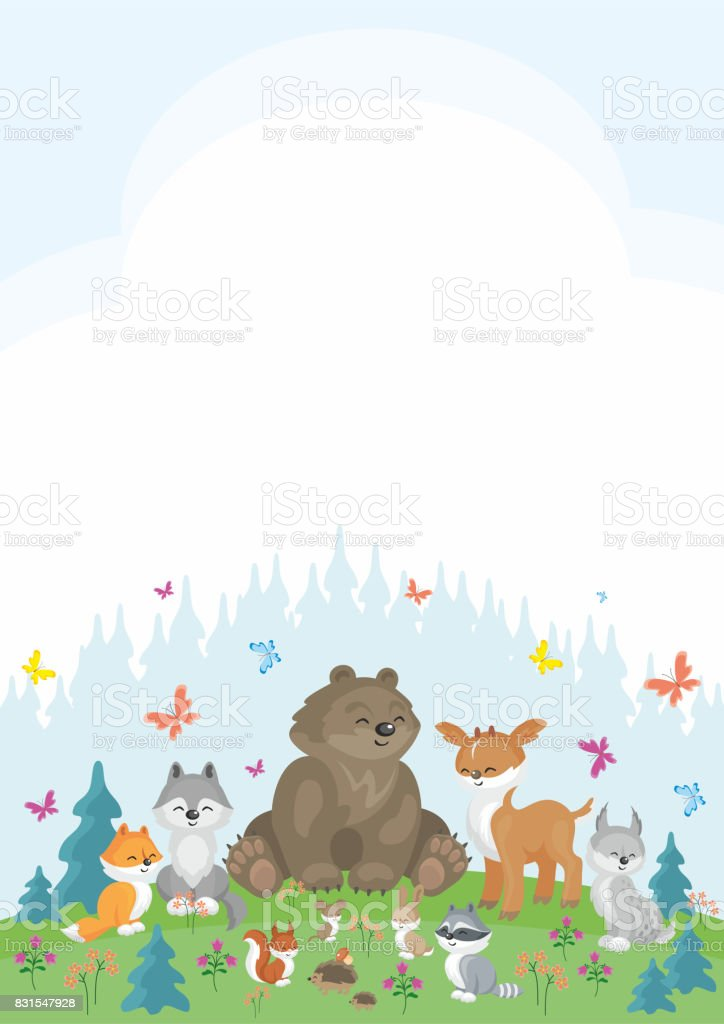 cute animals background vector art illustration