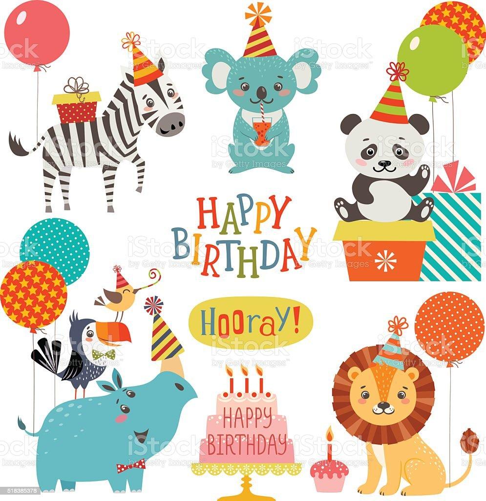 Cute animals birthday wishes vector art illustration