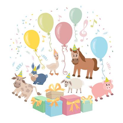 Cute animals cartoon illustration for birthday card