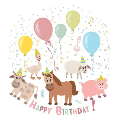Cute animals cartoon illustration for birthday invitation.