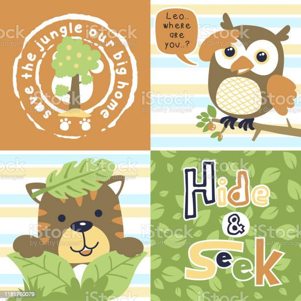 Cute animals cartoon vector owl with tiger playing hide and seek vector id1181760079?b=1&k=6&m=1181760079&s=612x612&h=sjkhoc8z 1txqxhzrawiuguf6wq59 zm3fjjp 2kjay=