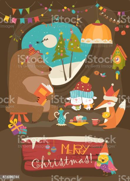Cute animals celebrating christmas in den vector id874099744?b=1&k=6&m=874099744&s=612x612&h=2nuaoobd4eeqrbxavj aui ke7e2e1aocmkkrwvrtpo=