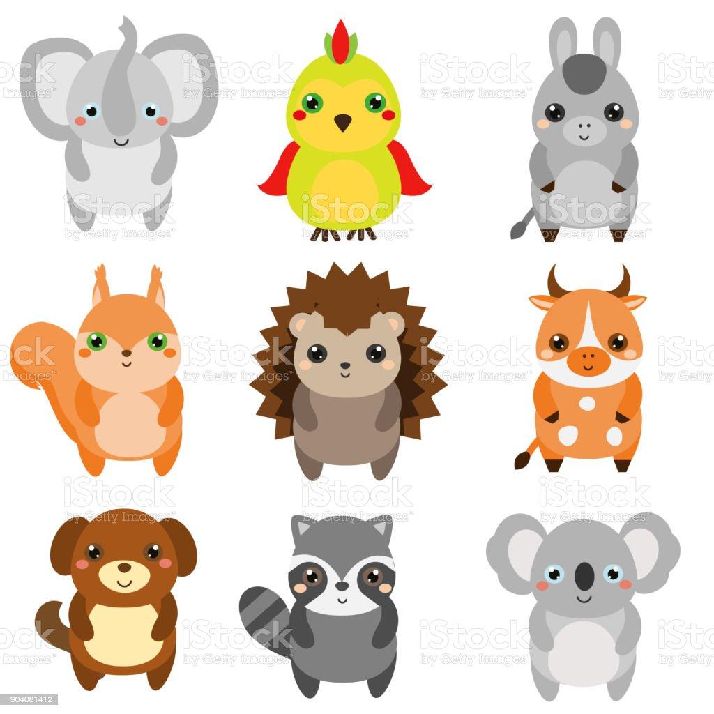 Sevimli Hayvanlar çocuk Stil Izole Tasarım öğeleri Vektör çizgi Film