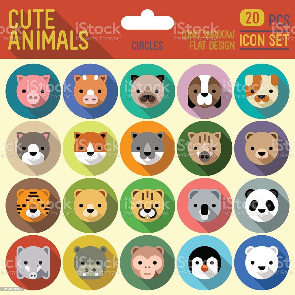 Cute animals circle icon set. Vector trendy illustrations. vector art illustration