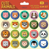 Cute animals circle icon set. Vector trendy illustrations.