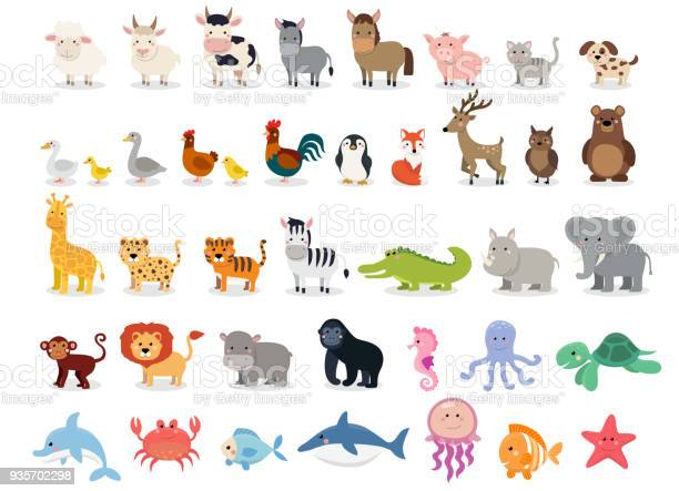 Cute animals collection farm animals wild animals marina animals on vector id935702298?b=1&k=6&m=935702298&s=612x612&h=svtx8xuwf10kq1vehzug d62yl3bsc9w9nxicmagzsk=