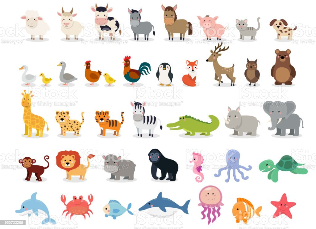 Cute animals collection: farm animals, wild animals, marina animals isolated on white background. Vector illustration design template vector art illustration