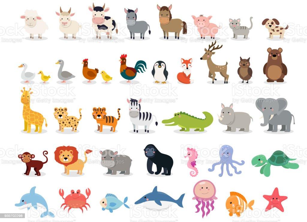 かわいい動物コレクション: 農場の動物、野生動物、白い背景で隔離のマリーナ動物。ベクトル イラスト デザイン テンプレート ベクターアートイラスト
