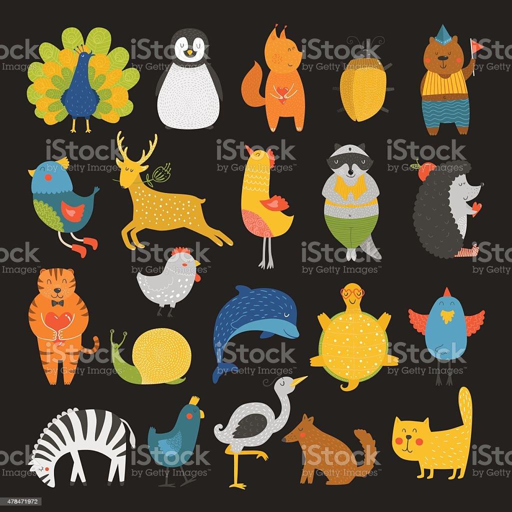 Cute animals collection, baby animals, animals vector. Vector cat,...