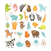 Cute animals collection. Vector pig, rabbit, monkey, lion, sheep, bird,goose, panda, koala, chicken, fox, cow, jellyfish, cat, hen, dog, fox, elephant, crocodile, unicorn, giraffe, owl, turtle, horse,yak, vole