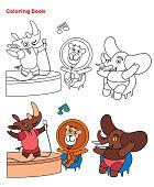 istock Cute Animals coloring book 1300353951