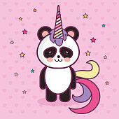 Kawaii panda bear with colorful horn over pink starry background. Vector illustration.