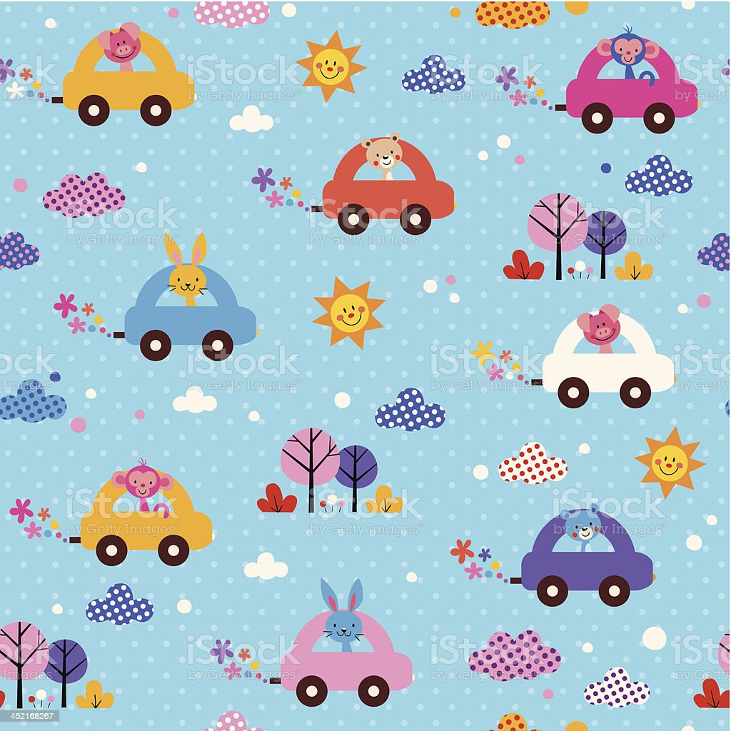 かわいい動物のお子様にはお車のパターン - アナウサギのベクターアート