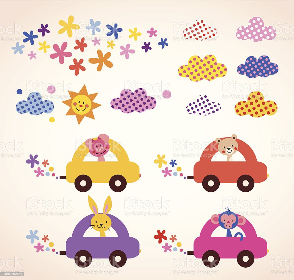 cute animals driving cars kids stuff design elements set royalty-free stock vector art