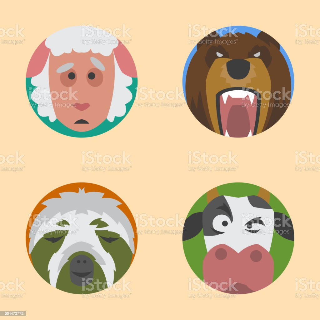 Cute animals emotions icons isolated fun set face happy character emoji comic adorable pet and expression smile collection wild avatar vector illustration vector art illustration