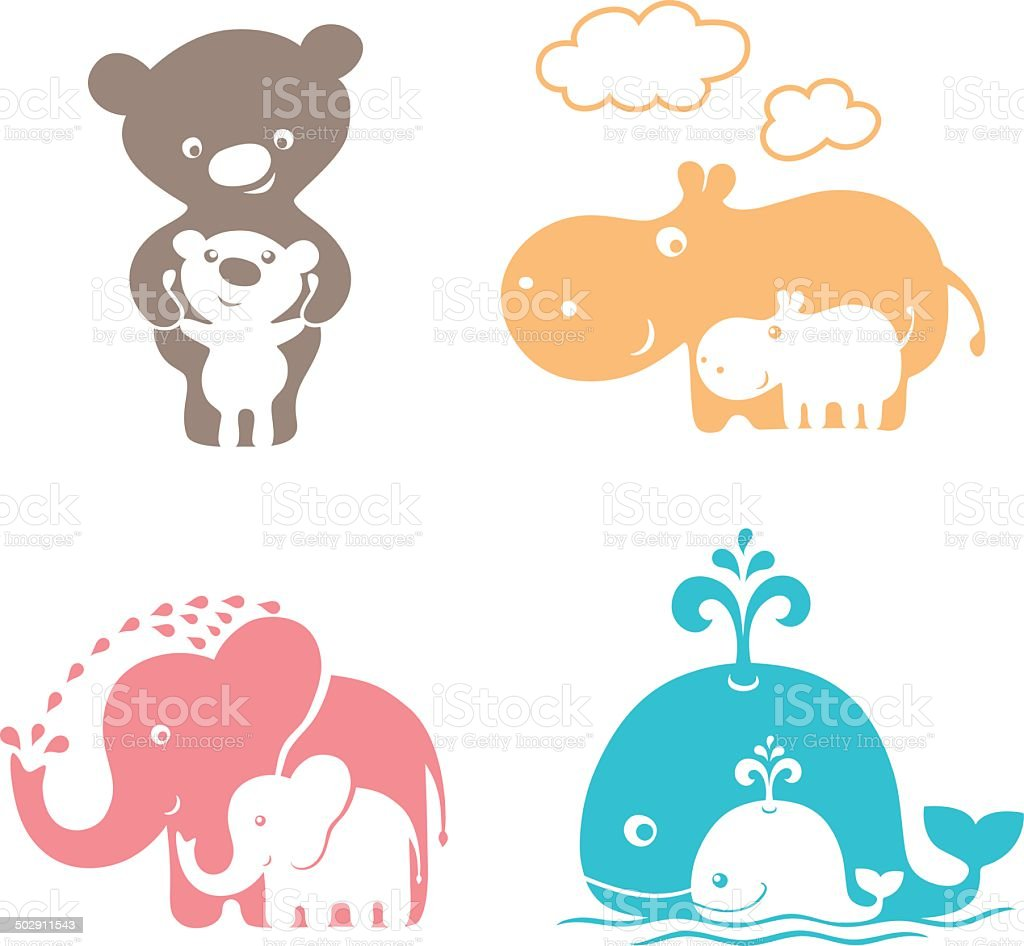 Cute animals family. vector art illustration