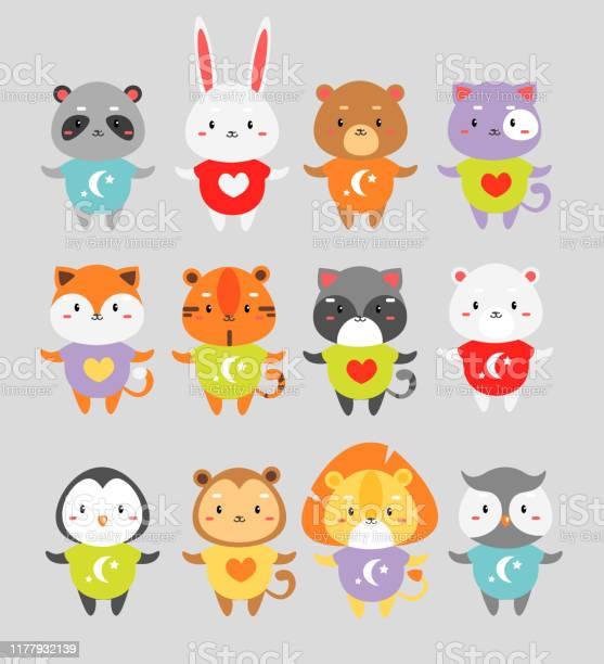 Cute animals flat vector illustrations set vector id1177932139?b=1&k=6&m=1177932139&s=612x612&h=w4vml jfjn wmaz pxcnzkv5j5xhbfcwyvwokqp32iy=