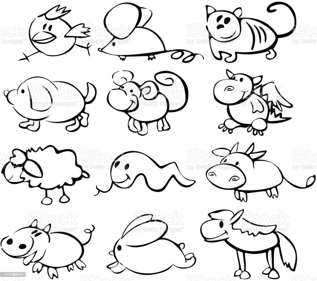 Cute animals funny horoscope. royalty-free cute animals funny horoscope stock vector art & more images of animal