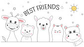Cute animals giraffe, cat, bear, llama and hippo best friends. Happy friendship day. Kids graphics for t-shirts. Greeting card.