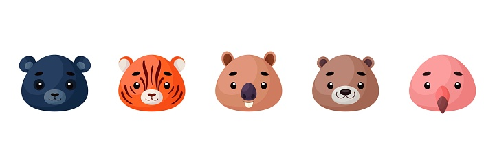 Cute animals heads set. Collection funny animals characters for kids cards, baby shower, birthday invitation, house interior. Bright colored childish vector illustration.