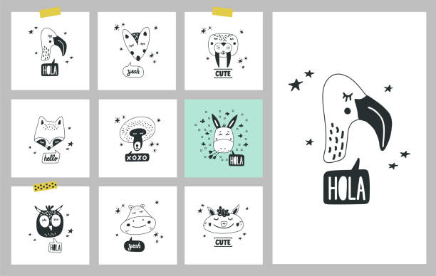 cute animals heads set of vector illustrations. design element, cards - black and white owl stock illustrations, clip art, cartoons, & icons