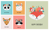 Cute animals heads with flower crown, vector illustrations for nursery design, poster or birthday greeting cards. Panda, llama, fox, koala, cat, dog, raccoon and bunny