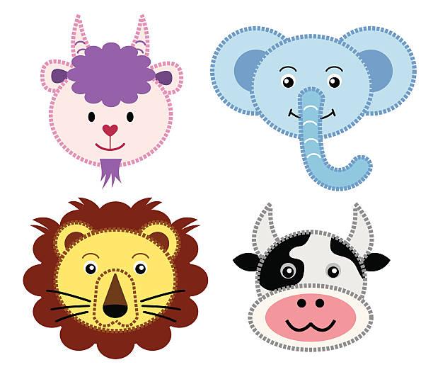 niedlichen tiere icon-set 3 - lustige kuh bilder stock-grafiken, -clipart, -cartoons und -symbole