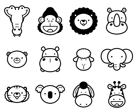Cute Animals icon set in black and white