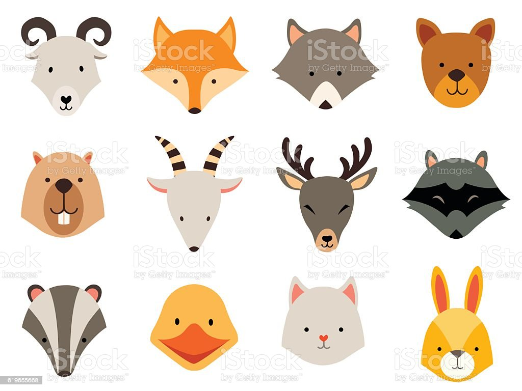 Cute animals icons set. Cat and wolf head, rabbit logo vector art illustration