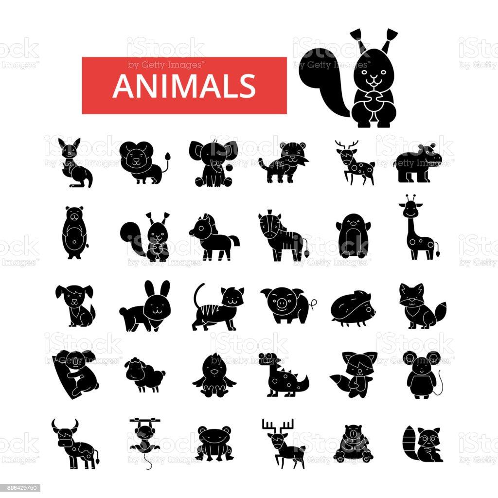 Cute animals illustration thin line icons linear flat signs vector cute animals illustration thin line icons linear flat signs vector symbols outline buycottarizona Images