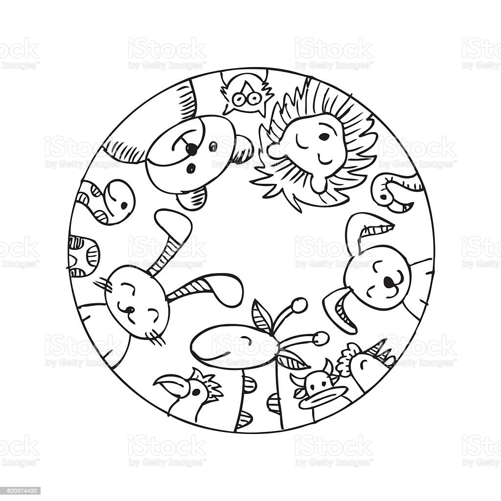 Cute animals in a circle shape cute animals in a circle shape - arte vetorial de stock e mais imagens de animal royalty-free