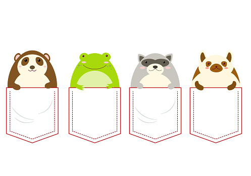 Cute animals in pocket set