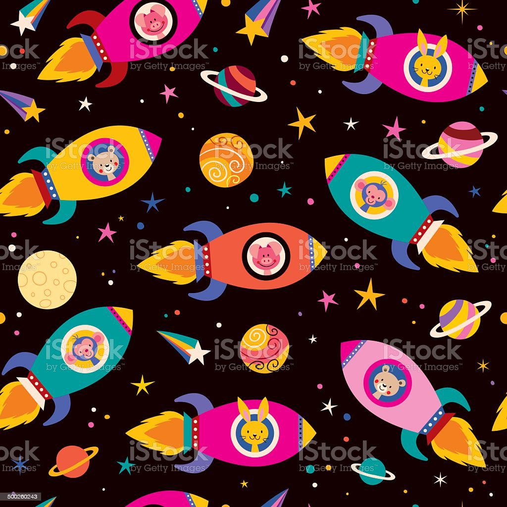 かわいい動物の宇宙船お子様のパターン Ufoのベクターアート素材や画像