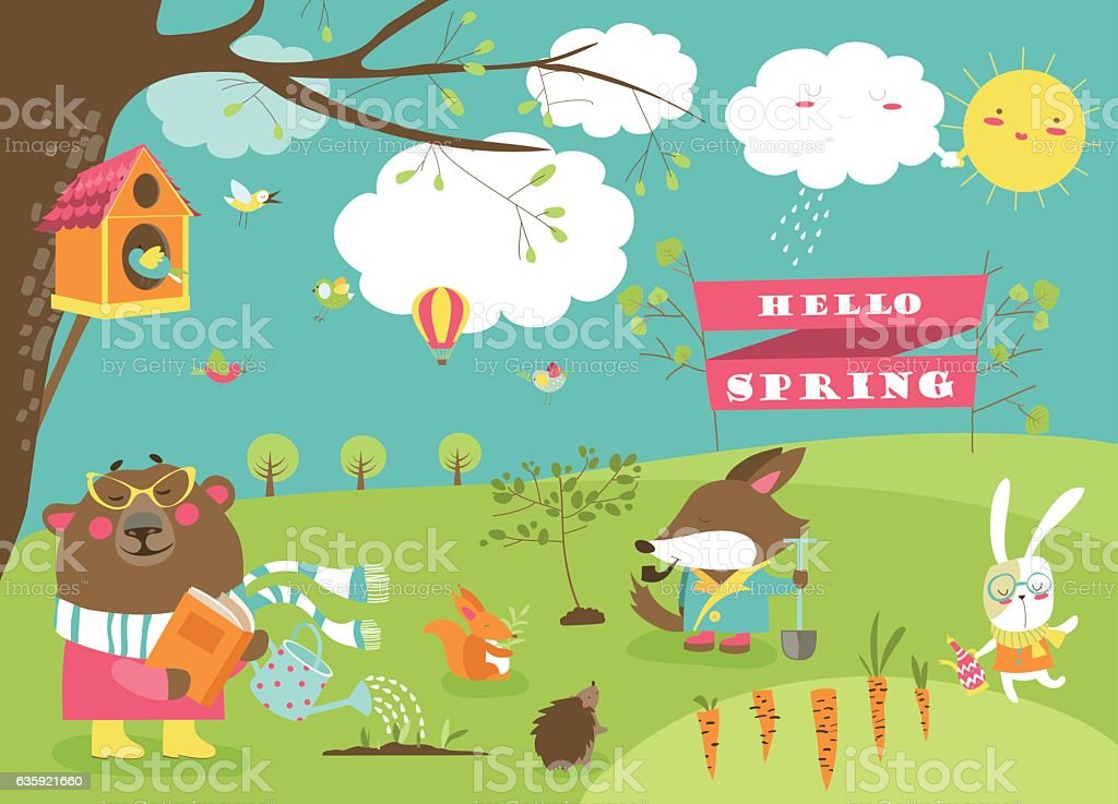 Cute animals in spring forest vector art illustration