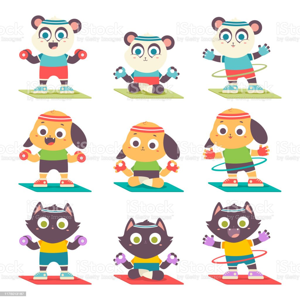 Cute Animals Kid Doing Yoga And Fitness Exercise Funny Cartoon Characters Vector Set Isolated On A White Background Stock Illustration Download Image Now Istock