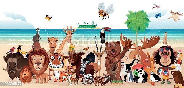 Vector Cute animals on the beach