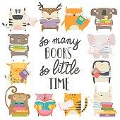 Vector set of cartoon animals reading books on white background