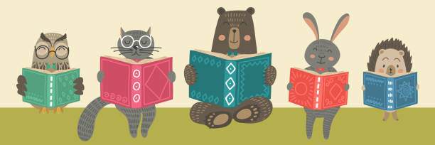 Cute animals reading books Cute animals reading books. Children's education illustration. storytelling stock illustrations