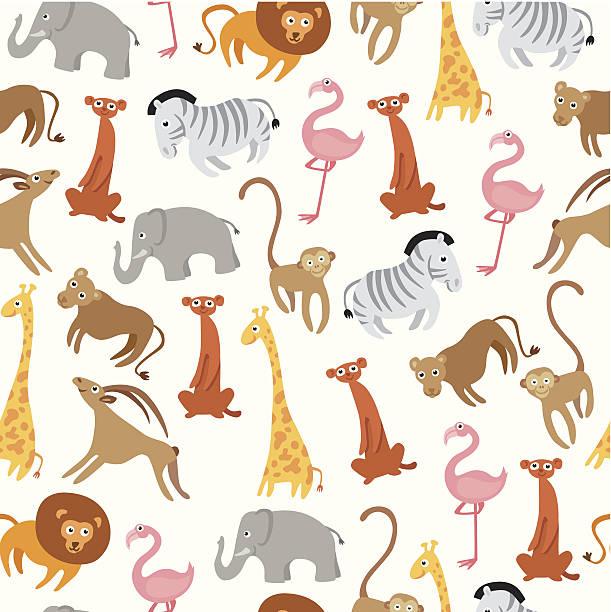 niedlichen tiere nahtlose muster - giraffenhumor stock-grafiken, -clipart, -cartoons und -symbole